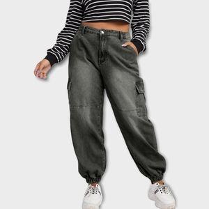 Shein Dark Grey Bleach Wash High Rise Baggy Cargo Jeans Size 3XL